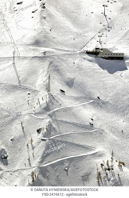 Ski lifts and ski slopes, Saas-Fee, Valais, Switzerland