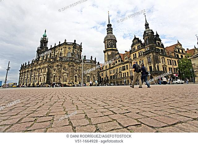 Residenzschloss, Overlooking the old city of Dresden, Saxony, Germany