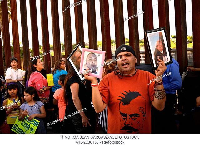 Protesters at the Victimas de la Patrulla Fronteriza Protest vigil in Nogales, Sonora, Mexico, were joined by protesters from the Border Patrol Victims Network...