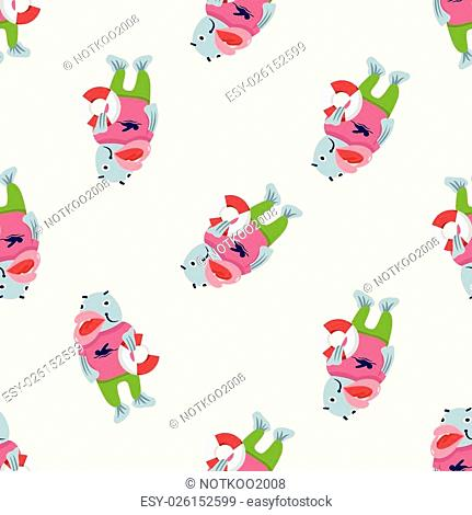 animal fish summer cartoon theme elements