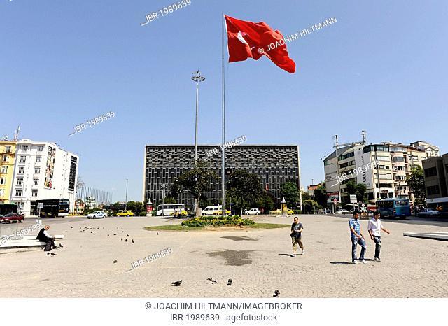 Taksim Square and Atatuerk Cultural Centre, Taksim Meydani square, Atatuerk Kueltuer Merkezi, Beyoglu district, Istanbul, Turkey