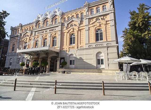 Theater,Teatro romea building,exterior main facade,Murcia,Spain