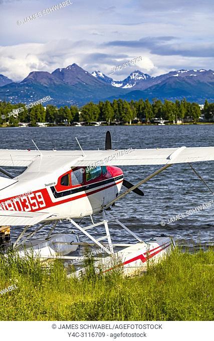 Seaplane or floatplane at Lake Hood Seaplane Base the world's busiest seaplane base located in Acnhorage Alaska