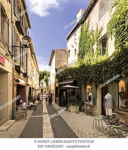 Street in historic city center of St Remy de Provence. Buches du Rhone, Provence, France