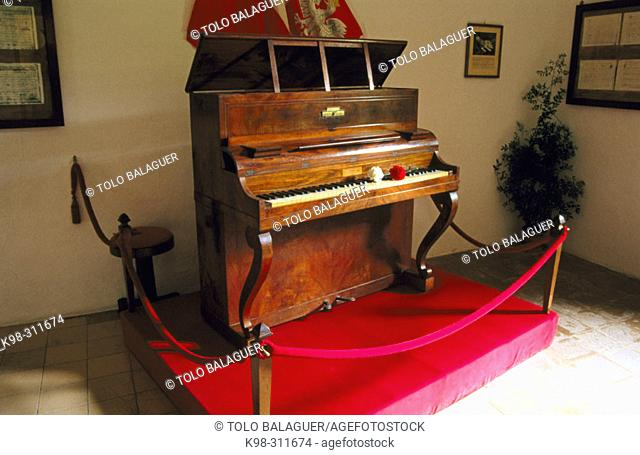 Chopin's piano at charterhouse. Valldemosa. Majorca, Balearic Islands. Spain