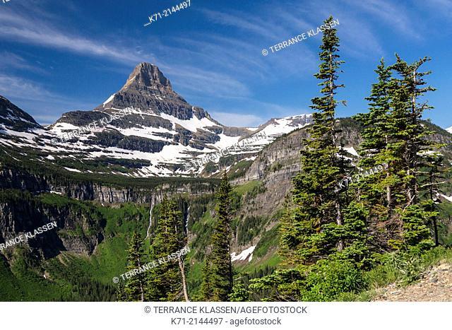 Alpine scenery with Mount Reynolds near Logan Pass in Glacier National Park, Montana, USA
