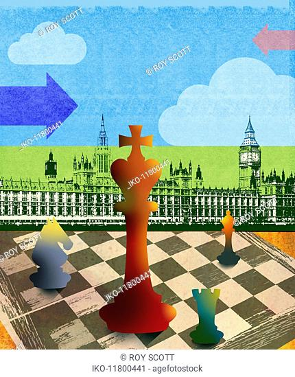 Chess board pieces in front of Houses of Parliament, London