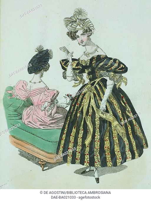 Woman wearing a black and golden yellow-striped evening dress with floral decorations and short-puffed sleeves, white gloves and ornate headdress with feathers...