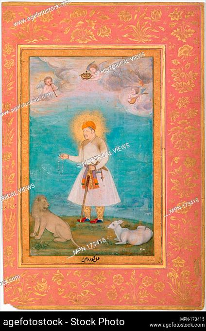 Akbar With Lion and Calf, Folio from the Shah Jahan Album. Artist: Painting by Govardhan (active ca. 1596-1645); Calligrapher: Mir 'Ali Haravi (d. ca