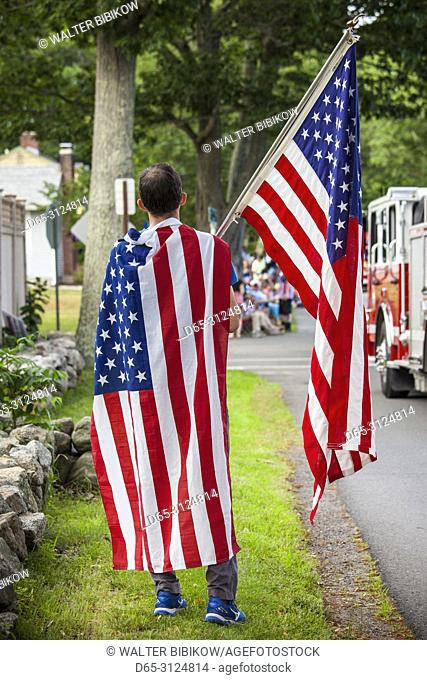 USA, New England, Massachusetts, Cape Ann, Rockport, Fourth of July Parade, US flags