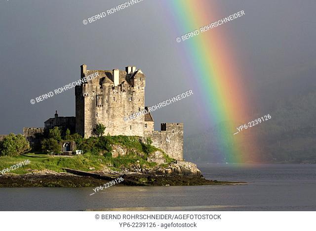Eilean Donan Castle with rainbow, near Dornie, Scotland