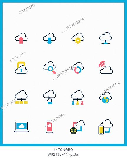Icons related to cloud