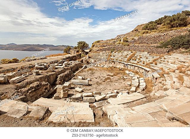 Ancient Roman theatre near Klima by the sea, Milos, Cyclades Islands, Greek Islands, Greece, Europe