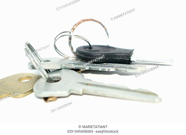 Bunch of keys. Photo of different keys from the door. On a white background