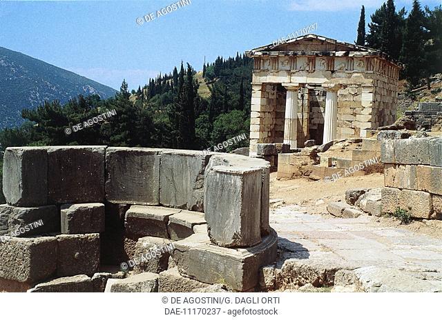Athenian treasury, Delphi (UNESCO World Heritage List, 1987), Greece. Greek civilisation, 6th-5th century BC