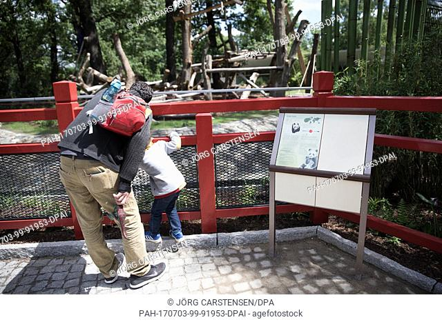 Visitors can be seen at the new panda cages at the Zoo in Berlin, Germany, 3 July 2017. From the 6th of July onwards the two pandas Meng Meng and Jiao Qing will...