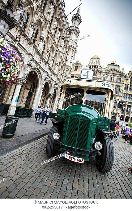 Old bus in Grand Place in Brussels, Belgium