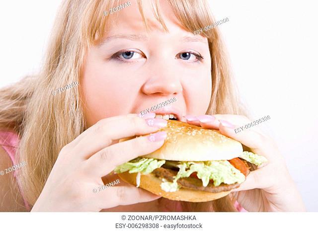 fat girl with a hamburger