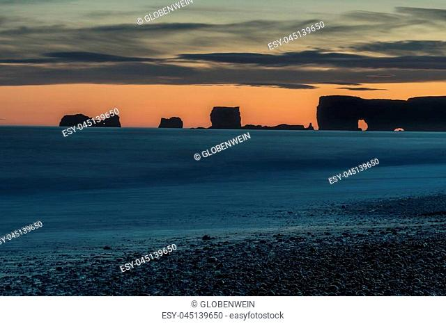 Rock formations in South iceland Sunset