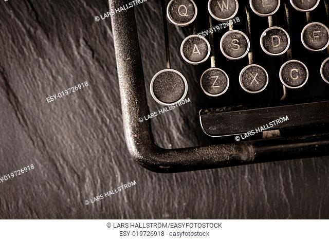 Retro vintage typewriter. Conceptual image of old fashioned office work, communication or writing