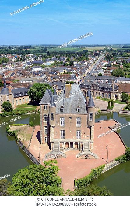 France, Loiret, Bellegarde, the castle (aerial view)