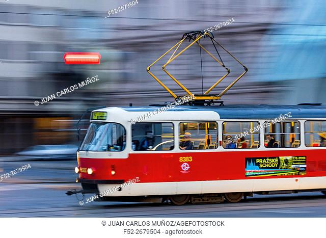 Tram, Masarykovo Street, Prague, Czech Republic, Europe