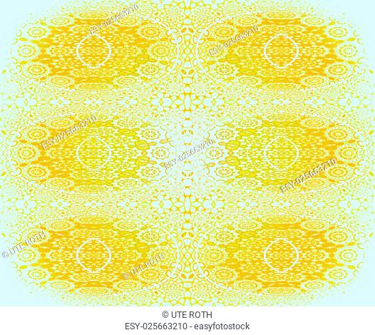 Abstract geometric background, seamless floral laces pattern in amber and yellow shades on white, circles and ellipses, blurred