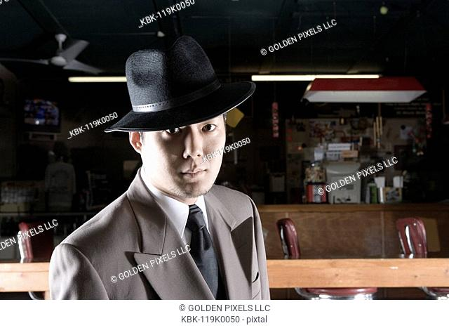 Gangster in a pool hall
