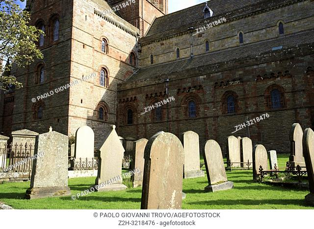 12th century Romanesque Saint Magnus cathedral cemetery in Kirkwall, Orkney, Scotland, Highlands, United Kingdom