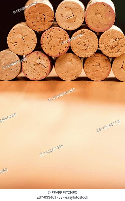 Stack of Wine Corks on a Wood Surface