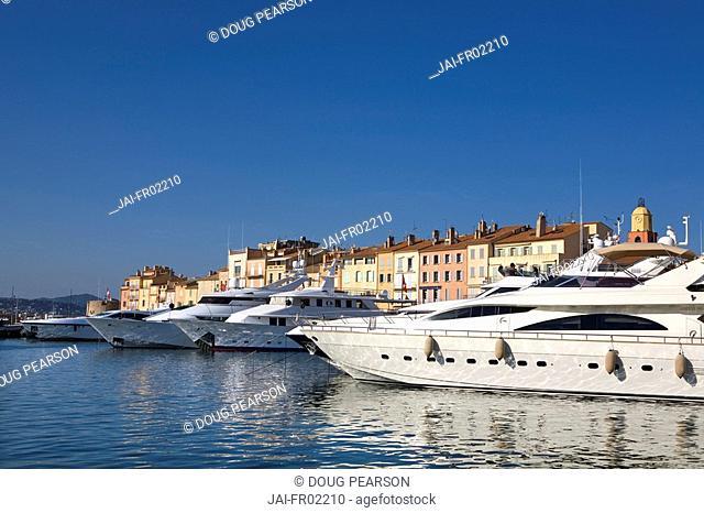 Boats in Harbour, St Tropez, Côte d'Azur, France