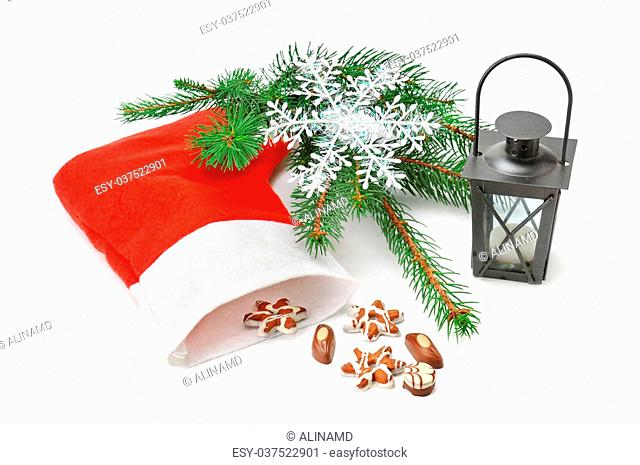 Christmas Stocking, lantern and spruce isolated on white background