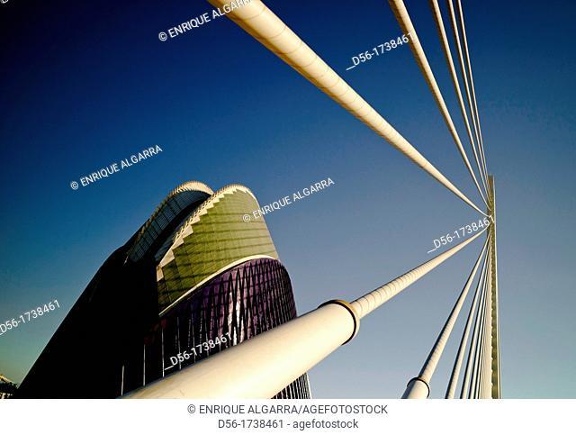 Agora and Assut d'or bridge, Ciudad de las Artes y las Ciencias, Valencia, Comunidad Valenciana, Spain