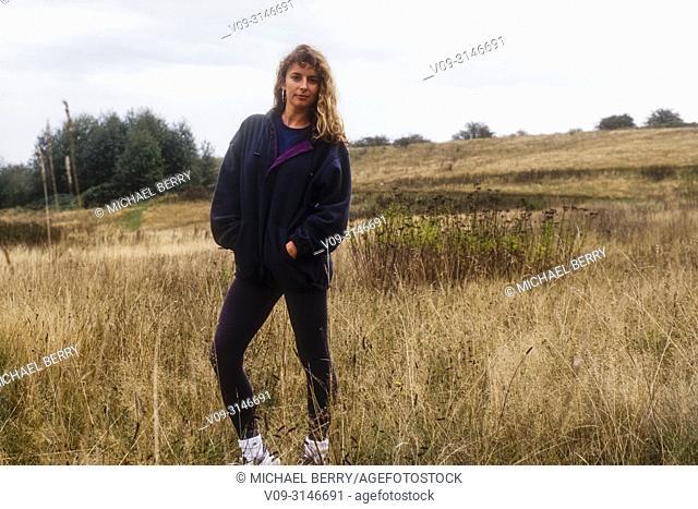 Woman outdoors wearing fleece jacket