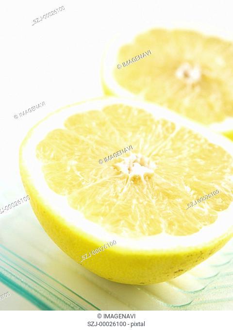 Halved grapefruits