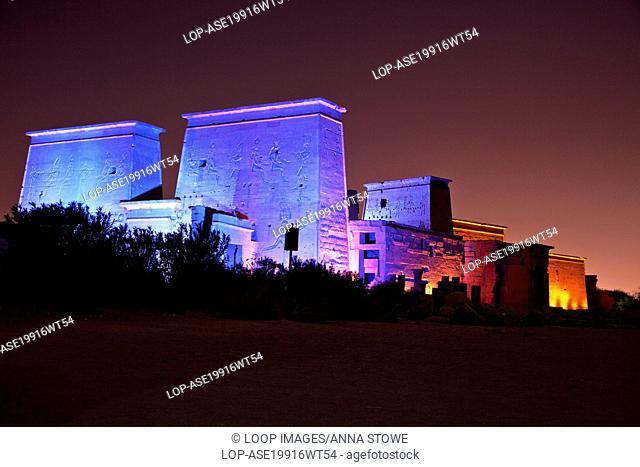 Sound and Light Show on Isis Temple on Agilika or Agilkia Island in Aswan
