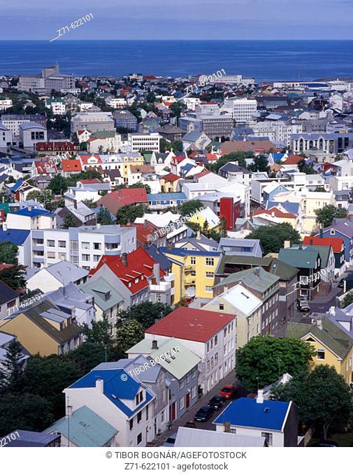 General aerial view. Reykjavik, Iceland