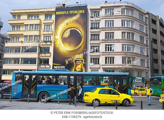 Taksim square with buses and taxis Beyoglu Istanbul Turkey Europe