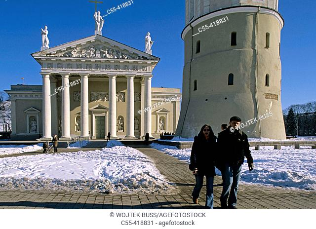 St. Stanislas Cathedral, old town in winter. Vilnius, Lithuania