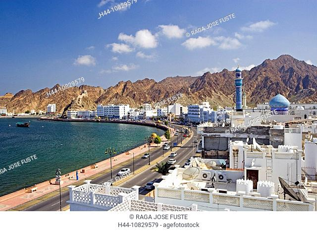 Oman, Arabia, East, Corniche, town, city, Old Town, Muttrah, courage yard, Maskat, Muscat, overview, coast, sea