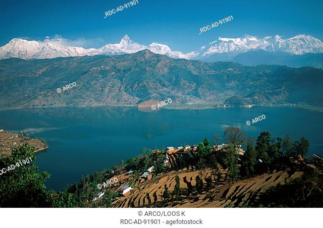 Phewa lake and Annapurna massif, Pokhara, Nepal