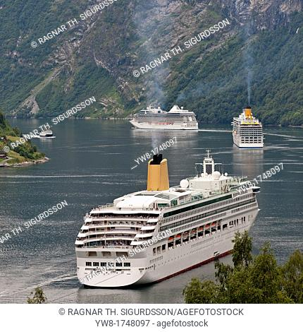 Cruise ships in Geirangerfjord, Norway