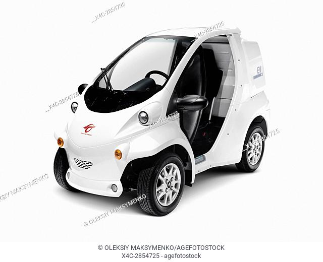 2017 Toyota COMS EV ultra-compact electric vehicle by Toyota Auto Body isolated on white background with clipping path