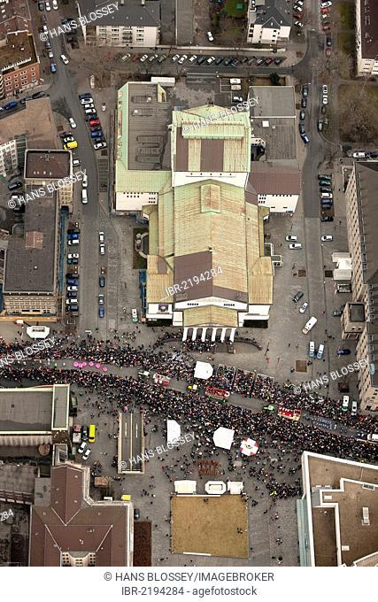 Aerial view, parade, street carnival, Duisburg, Ruhr, North Rhine-Westphalia, Germany, Europe