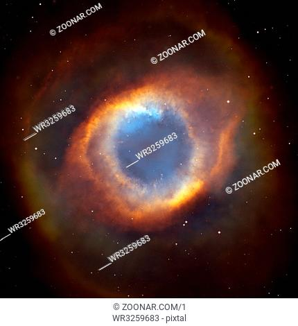 The Helix Nebula or NGC 7293. It is one of the nearest planetary nebulae to Earth, only 650 light years away. Located in the constellation Aquarius