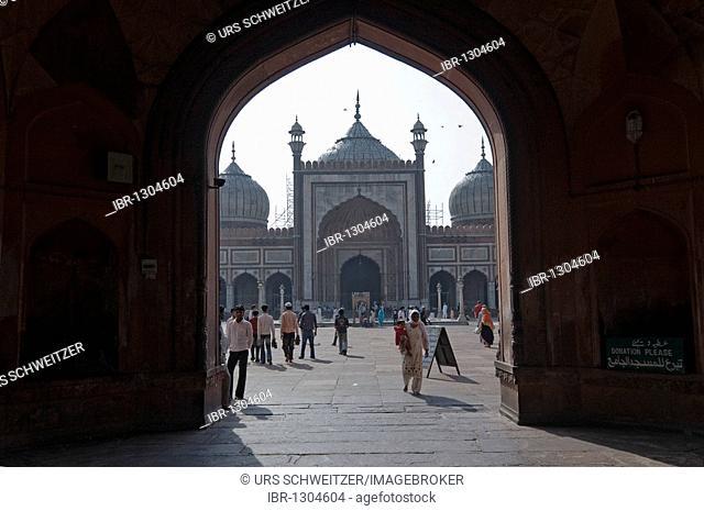View through the main gate of the Friday Mosque, Jama Masjid, Jami Masjid, Old Delhi, India, Asia