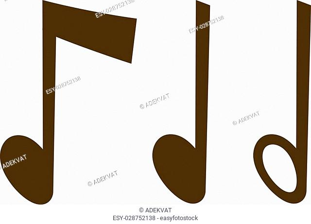 Black music notes vector set and silhouette of music notes graphic icons. Vector black icons music note melody symbols vector illustration