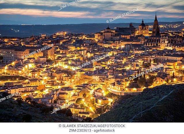 Panorama of Toledo old town at nightfall, Castilla-La Mancha, Spain