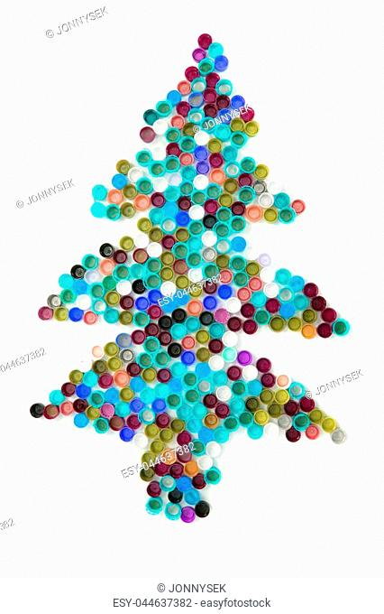 color plastic caps as christmas tree isolated on the white background