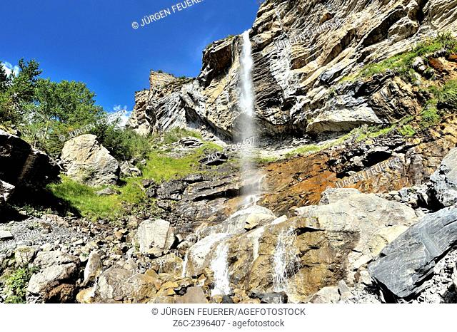 Cascade d`Aiglière in the valley of the river Var, Alpes-Maritimes, Maritime Alps, France